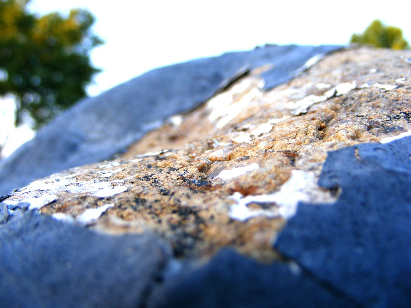 Macro Blue Chipped Rock and Paint