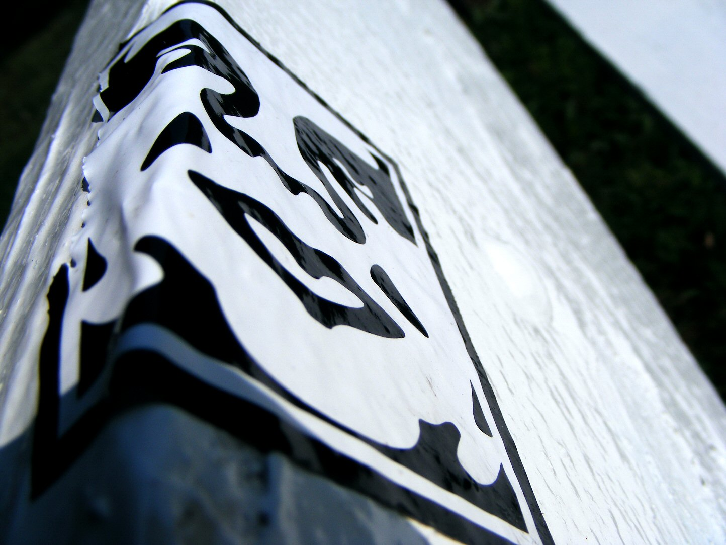 Macro Sticker on a Park Bench